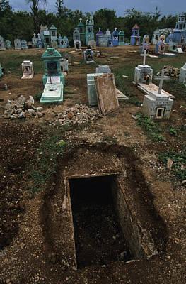 A Graveyard Has Handpainted Stones Art Print