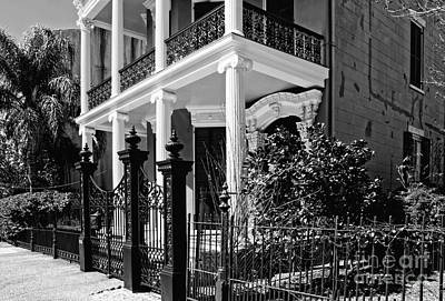 Photograph - A Greek Revival House On Coliseum Street  New Orleans- Black And White by Kathleen K Parker