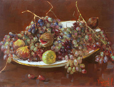 Grape Wall Art - Painting - A Greek Summer Plate by Ylli Haruni