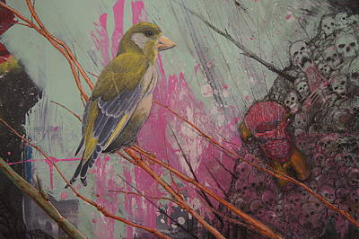Wall Art - Painting - a Green Finch DETAIL green finch and hell by Jeremiah Dirt