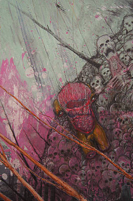 Wall Art - Painting - a Green Finch DETAIL hell by Jeremiah Dirt