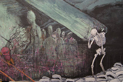 Wall Art - Painting - a Green Finch DETAIL skeleton and hell by Jeremiah Dirt