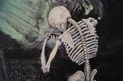 Wall Art - Painting - a Green Finch DETAIL skeleton crying by Jeremiah Dirt