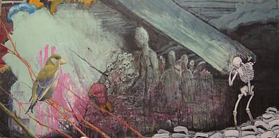 Wall Art - Mixed Media - a Green Finch by Jeremiah Dirt