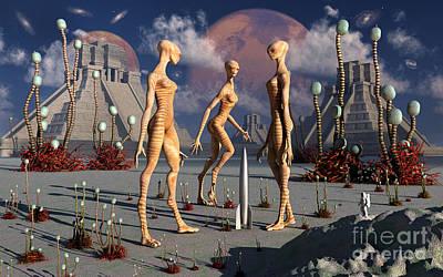 Rocketship Digital Art - A Group Of Alien Reptoid Beings Find by Mark Stevenson