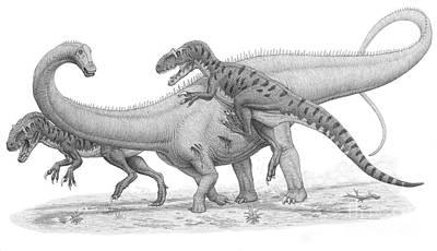 Allosaurus Digital Art - A Group Of Allosaurus Attack A Giant by Heraldo Mussolini
