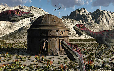 Extraterrestrial Existence Digital Art - A Group Of Compsognathus Dinosaurs by Mark Stevenson