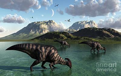 Parasaurolophus Digital Art - A Group Of Parasaurolophus Dinosaurs by Mark Stevenson