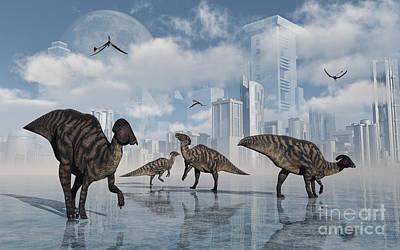 Aquatic Digital Art - A Group Of Parasaurolophus Duckbill by Mark Stevenson