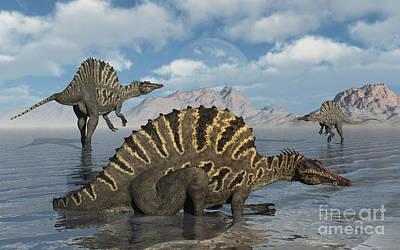 Aquatic Digital Art - A Group Of Spinosaurus by Mark Stevenson