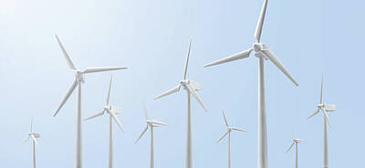 Y120817 Photograph - A Group Of Wind Turbines by Yagi Studio