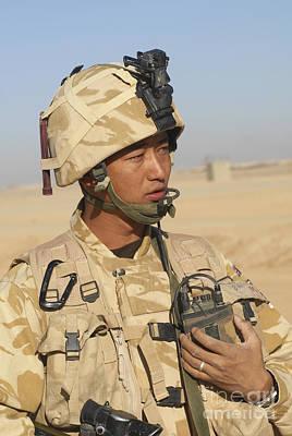 A Gurkha Commander Communicates Art Print by Andrew Chittock