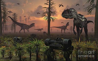 A Herd Of Allosaurus Dinosaur Cause Art Print by Mark Stevenson
