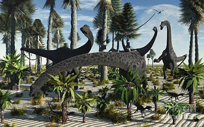 Diplodocus Digital Art - A Herd Of Diplodocus Dinosaurs Feeding by Mark Stevenson