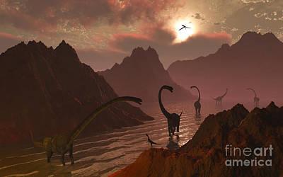 Past Twilight Digital Art - A Herd Of Omeisaurus Dinosaurs by Mark Stevenson
