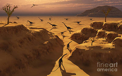 The Plateaus Digital Art - A Herd Of Omeisaurus Dinosaurs Migrate by Mark Stevenson