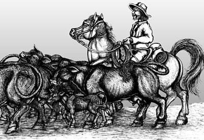 Devon Mixed Media - A Herding Rancher  by Devon Wilson