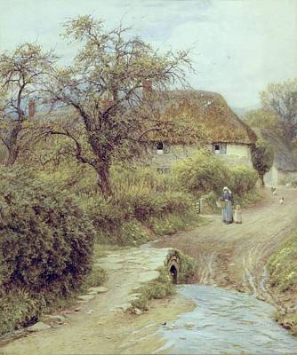 Dorset Painting - A Hill Farm Symondsbury Dorset by Helen Allingham