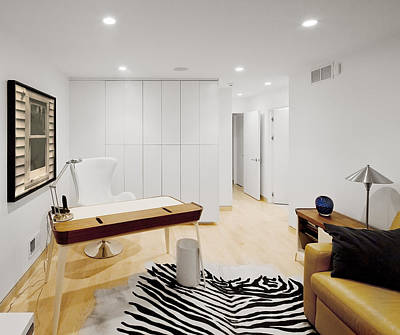 A Home Office. A Black And White Zebra Art Print