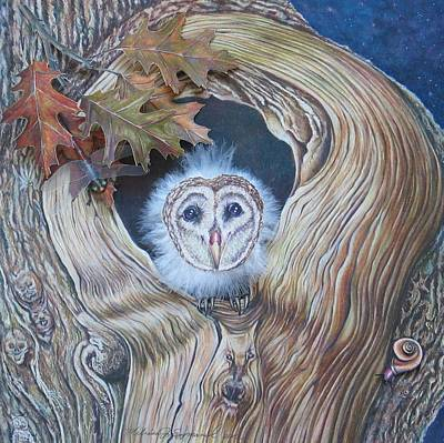 Drawing - A Hoot And A Howl In The Bark by Melissa J Szymanski