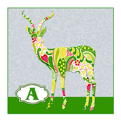 Education Painting - A Is For Antelope by Elaine Plesser