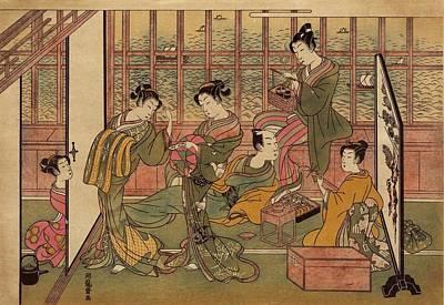 A Japanese Brothel In Shinagawa, Shows Art Print by Everett