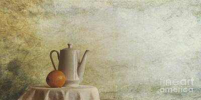 Still Life Royalty-Free and Rights-Managed Images - A Jugful Tea And A Orange by Priska Wettstein