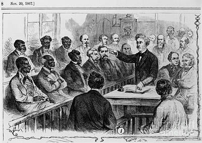 A Jury Of Whites And Blacks Art Print by Photo Researchers