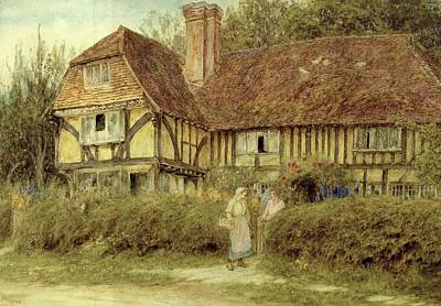 Frame House Painting - A Kentish Cottage by Helen Allingham