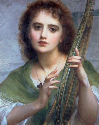 Halle Painting - A Lady With Lyre by Charles Edward Halle