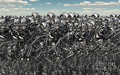 A Large Gathering Of Robots Art Print by Mark Stevenson