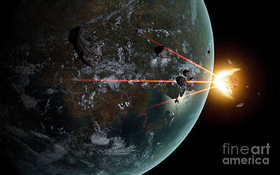 Digital Art - A Laser Anti-asteroid Defense System by Frieso Hoevelkamp