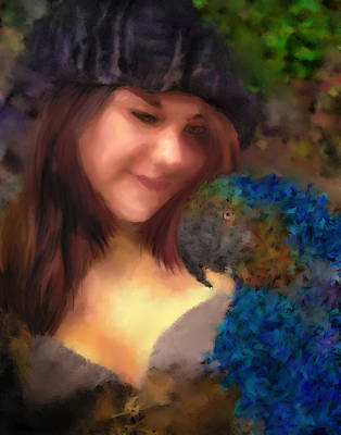 A Lass With Her Parrot Art Print by Jill Balsam