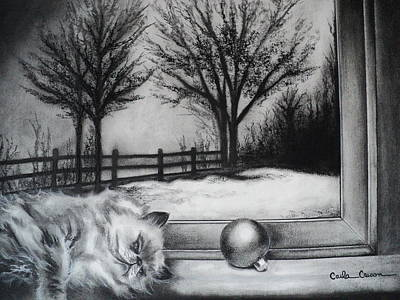 Drawing - A Lazy Winter Day by Carla Carson