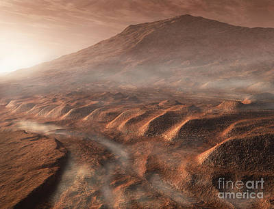 Relief Map Digital Art - A Light Fog Forms In A Desiccated Gully by Steven Hobbs
