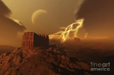 Plateau Digital Art - A Lightning Storm Over A Desert Lights by Corey Ford
