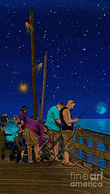 A Little Night Fishing At The Rodanthe Pier Print by Anne Kitzman
