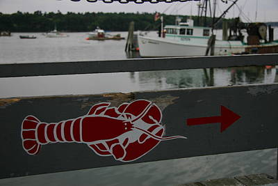 A Lobster Sign Backed By A Lobster Boat Art Print