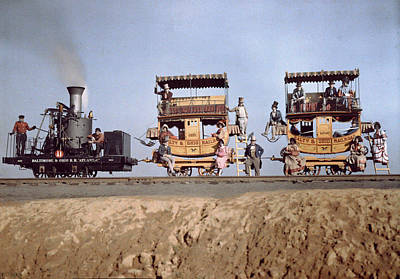 A Locomotive And Two Coaches Art Print by Charles Martin