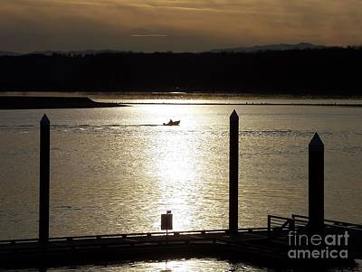 Photograph - A Lone Boat At Sunset by Chalet Roome-Rigdon