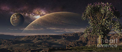 Mountainous Digital Art - A Lonely Tree On An Extraterrestrial by Frieso Hoevelkamp