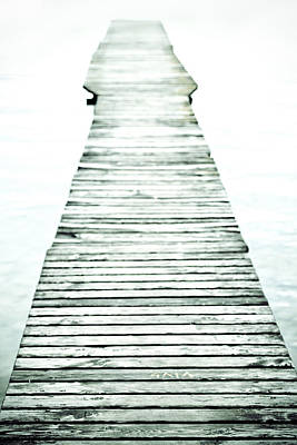 A Long And Old Wooden Bridge Into The Bright Light Art Print