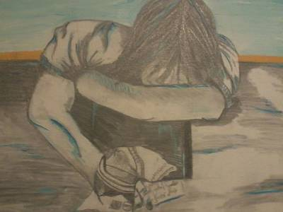 Lying Mixed Media - ''a Long Day'' by Crista Burcham