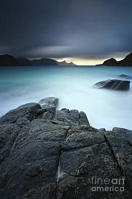The Sea Of Tranquility Photograph - A Long Exposure Scene At Haukland Beach by Arild Heitmann