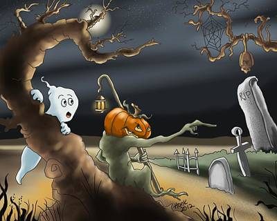 Graveyard Digital Art - A Long Night by Hank Nunes
