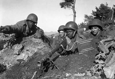 A Machine Gun Crew In Firing Position Art Print