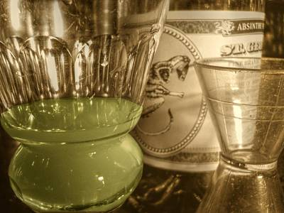 A Macro Sepia And Green Of Absinthe Art Print by Jennifer Holcombe