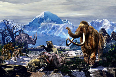 Saber-toothed Digital Art - A Mammoth Journey  by Kurt Miller