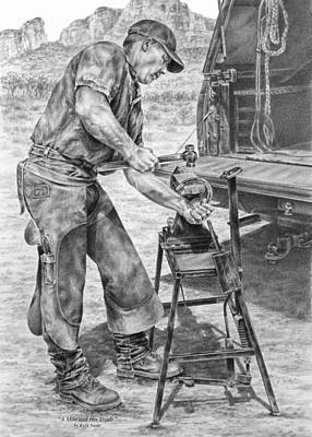 Drawing - A Man And His Trade - Farrier Art Print by Kelli Swan