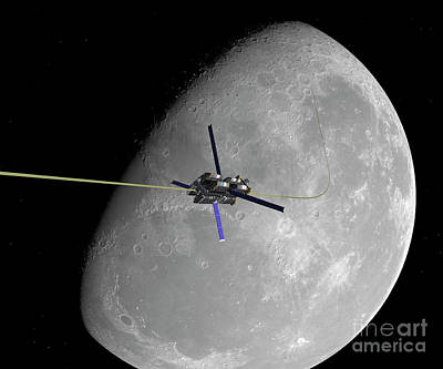 Non People Digital Art - A Manned Lunar Space Elevator Ascends by Walter Myers